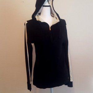 Black Hoodie Thermal Jacket Top